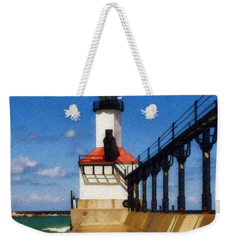 Lighthouse Weekender Tote Bag featuring the photograph Michigan City Light 1 by Sandy MacGowan