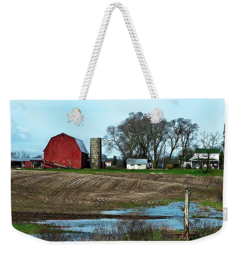 Barn Weekender Tote Bag featuring the photograph Michigan Farm by Onyonet Photo Studios
