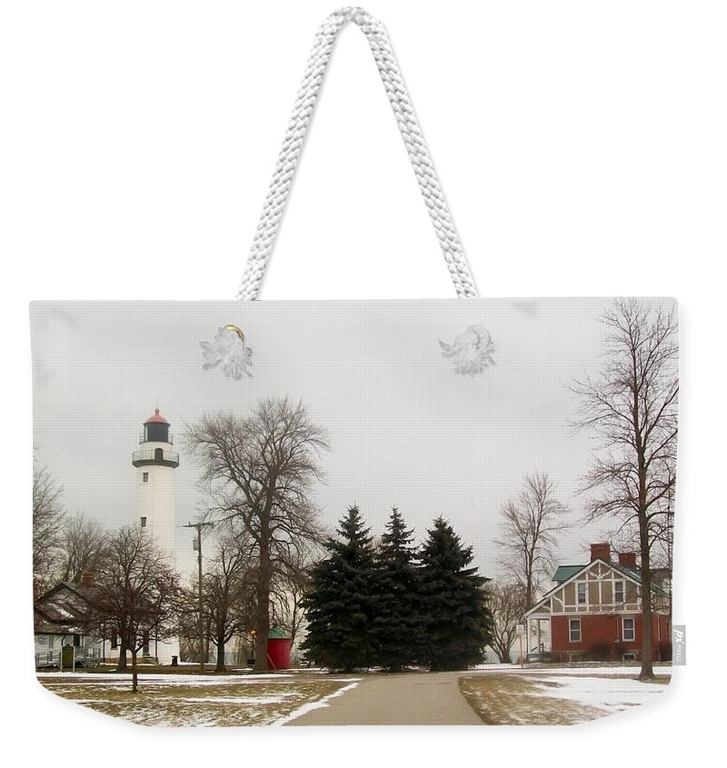 Michigan Weekender Tote Bag featuring the photograph Michigan Lighthouse by Mechala Matthews