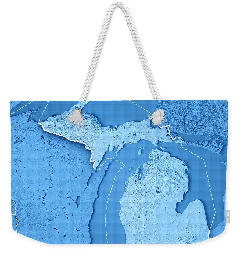 Michigan Weekender Tote Bag featuring the digital art Michigan State Usa 3d  Render Topographic Map Blue 1a4cad4ad4282