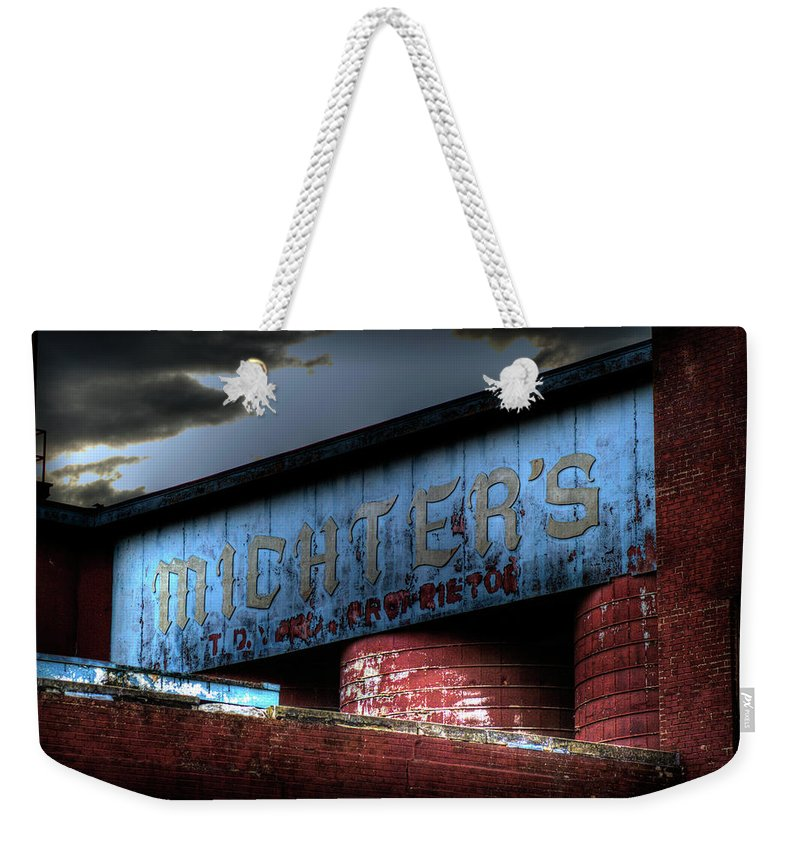 Mitcher's Weekender Tote Bag featuring the photograph Michter's Brew by Scott Wyatt