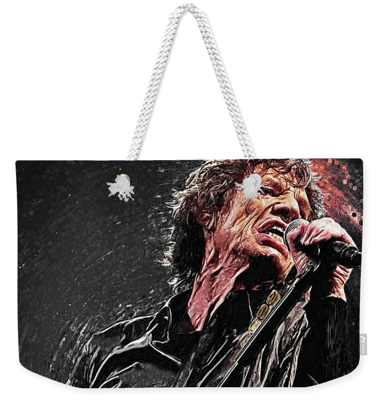 Mick Jagger Weekender Tote Bag featuring the digital art Mick Jagger by Zapista OU