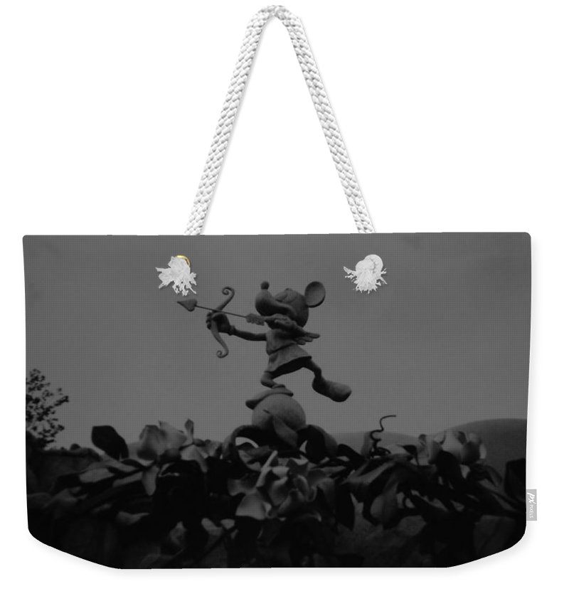Black And White Weekender Tote Bag featuring the photograph Mickey Mouse In Black And White by Rob Hans