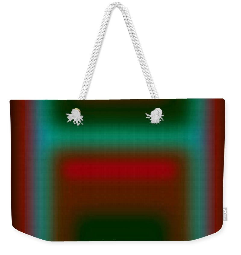 Landscape Weekender Tote Bag featuring the digital art Micro Cyan by Charles Stuart