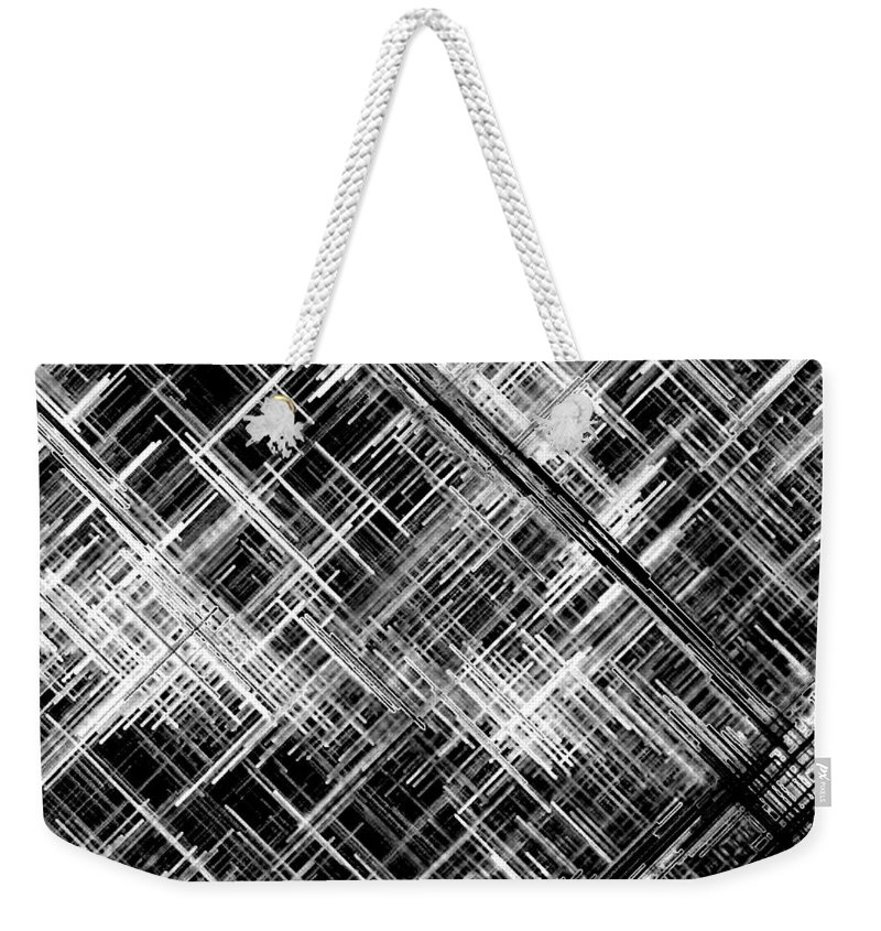 Black And White Weekender Tote Bag featuring the digital art Micro Linear Black And White by Will Borden