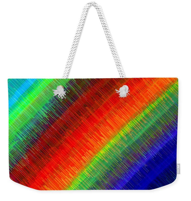 Micro Linear Weekender Tote Bag featuring the digital art Micro Linear Rainbow by Will Borden