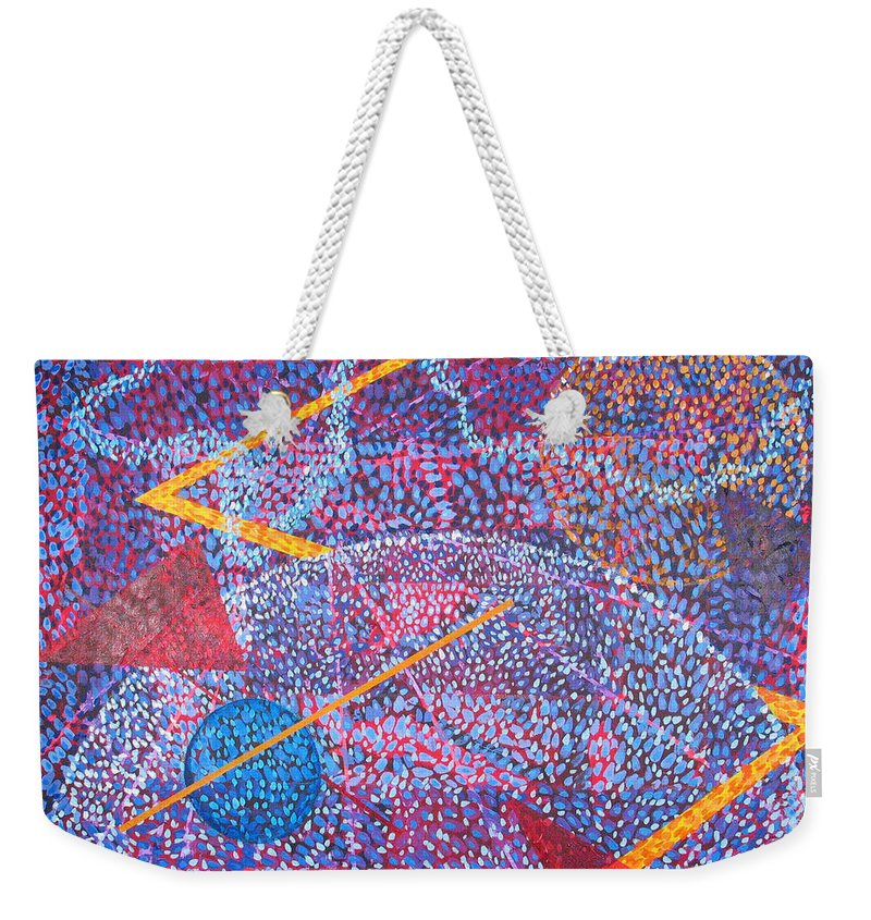 Abstract Weekender Tote Bag featuring the painting Microcosm XV by Rollin Kocsis