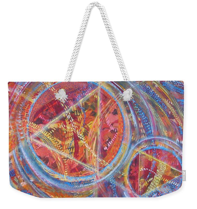 Geometric Weekender Tote Bag featuring the painting Microcosm XVI by Rollin Kocsis
