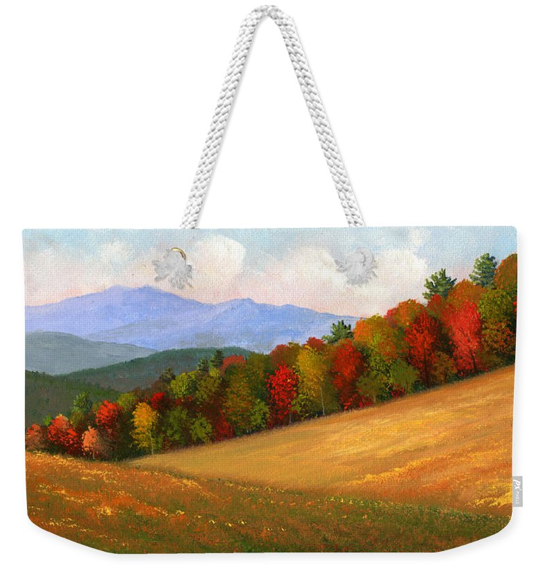 Landscape Weekender Tote Bag featuring the painting Mid Autumn by Frank Wilson
