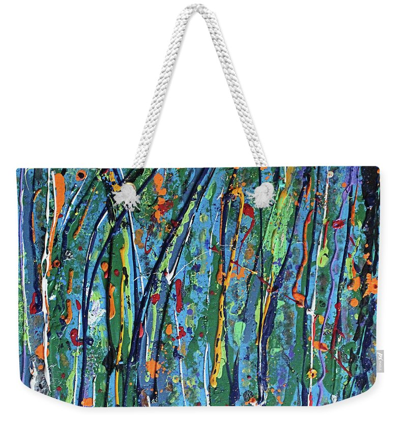 Bright Weekender Tote Bag featuring the painting Mid-Summer Night's Dream by Pam Roth O'Mara