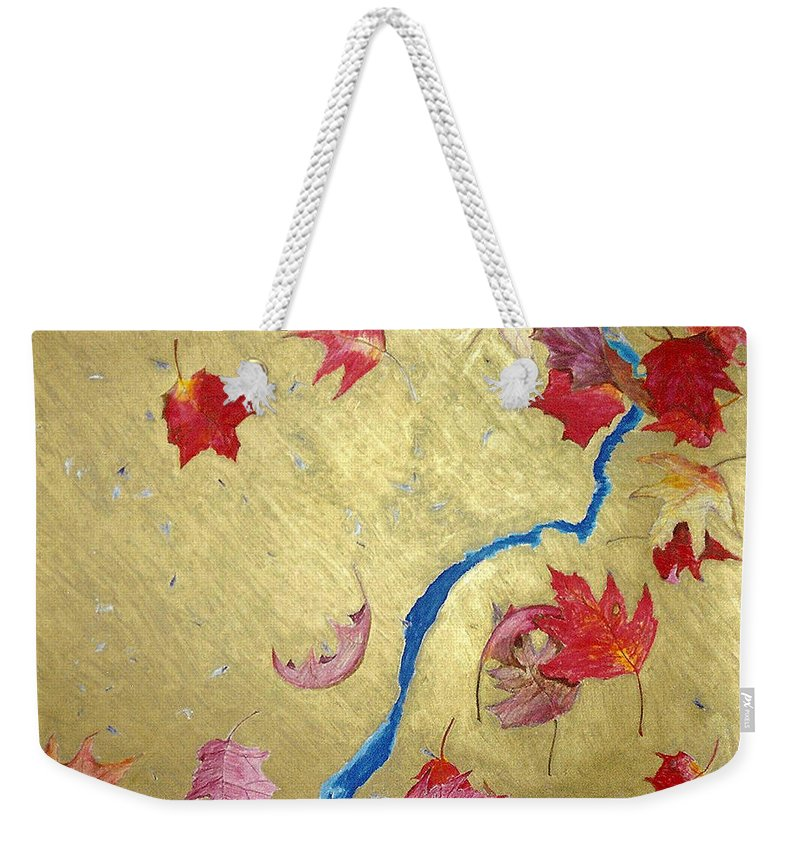Abstract Weekender Tote Bag featuring the painting Midas Fall by Steve Karol
