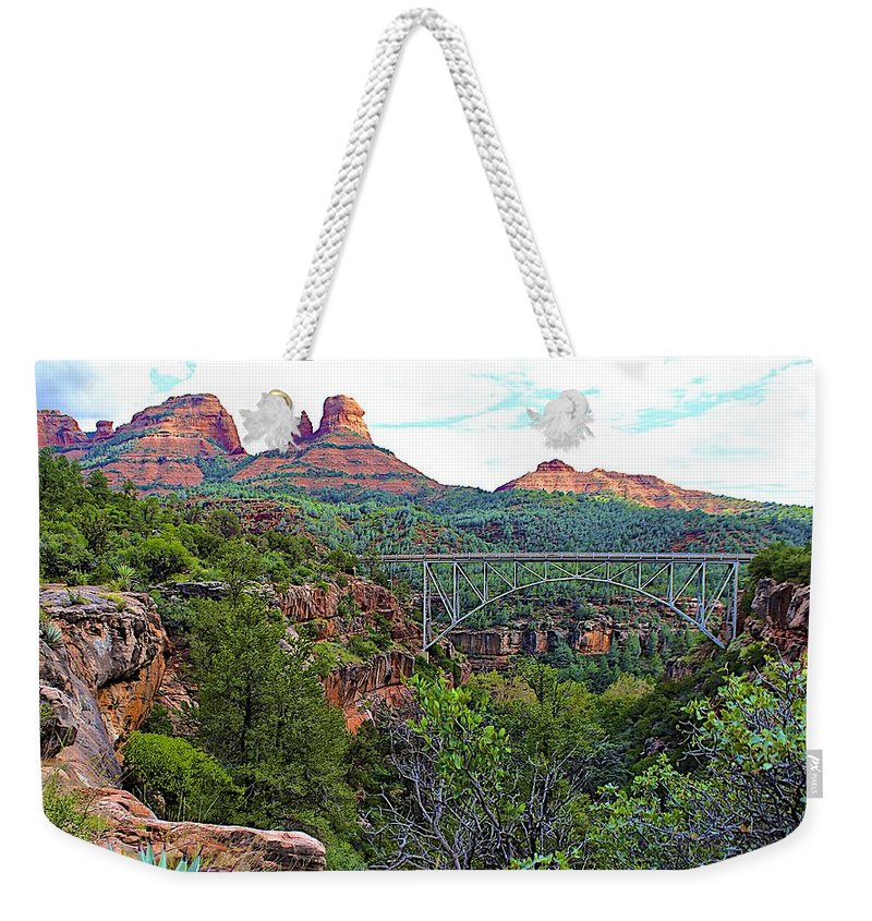 Landscape Weekender Tote Bag featuring the photograph Midgley Bridge by FlyingFish Foto
