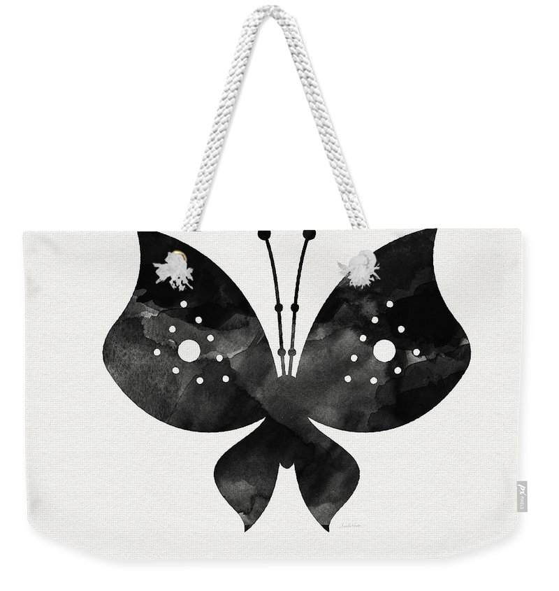 Butterfly Weekender Tote Bag featuring the painting Midnight Butterfly 2- Art By Linda Woods by Linda Woods