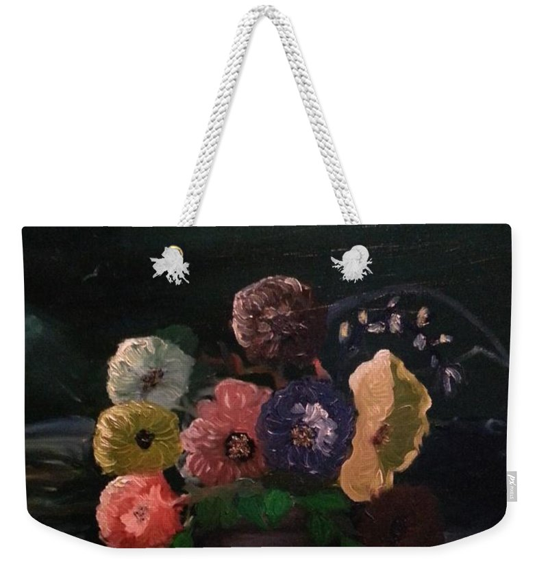 Flowers Weekender Tote Bag featuring the painting Midnight Flower by Sandra Harrison