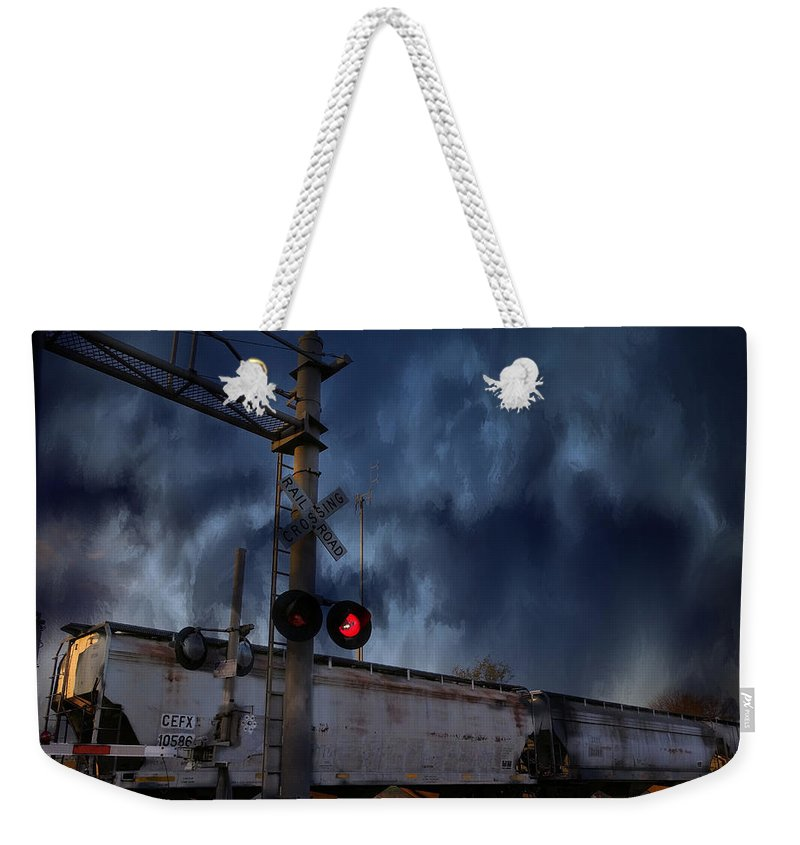 Train Weekender Tote Bag featuring the digital art Midnight Flyer by Theresa Campbell