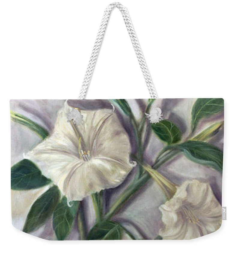 Flower Weekender Tote Bag featuring the painting Midnight Ghost by Randy Burns