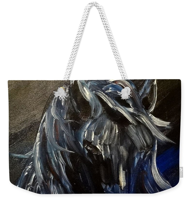 Horse Weekender Tote Bag featuring the painting Midnight by Kimberly Riggs