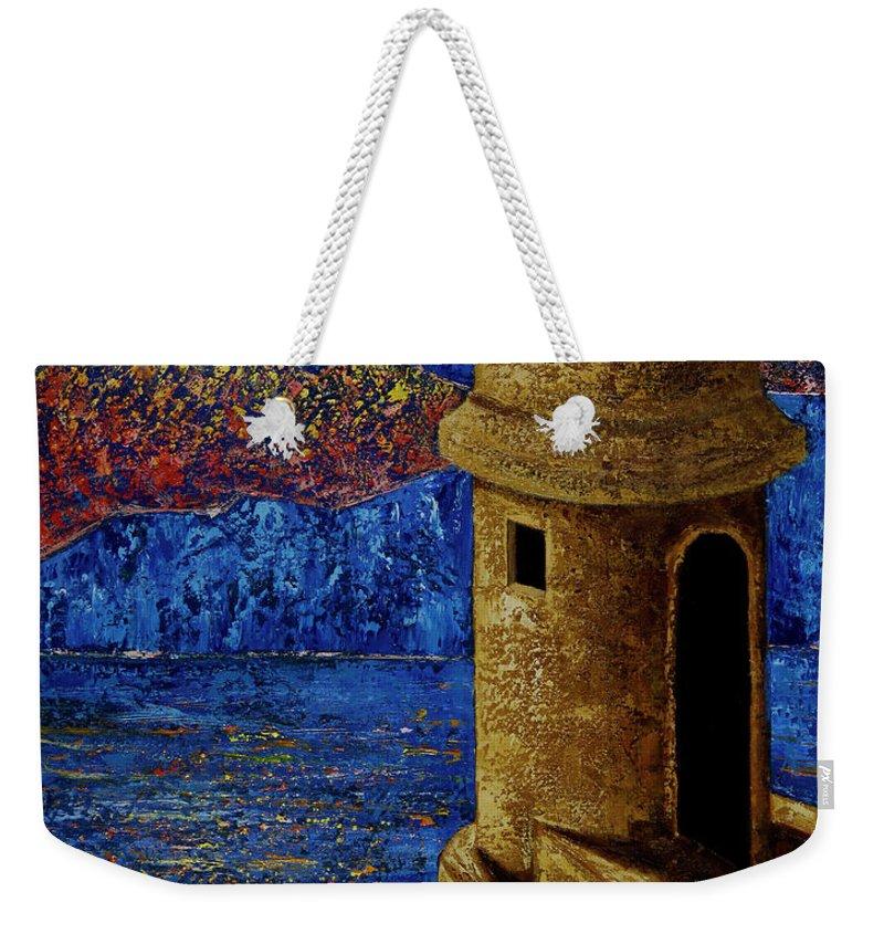 El Morro Weekender Tote Bag featuring the painting Midnight Mirage in San Juan by Oscar Ortiz