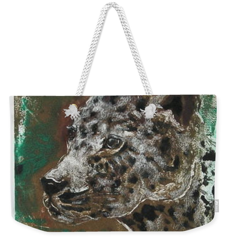 Monotype Weekender Tote Bag featuring the mixed media Midnight Prowler by Cori Solomon