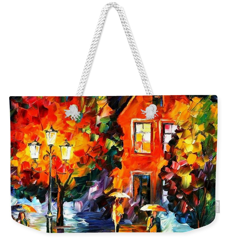 Afremov Weekender Tote Bag featuring the painting Midnight Rain by Leonid Afremov