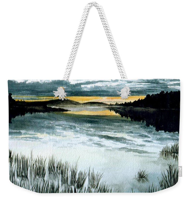 Watercolor Weekender Tote Bag featuring the painting Midnight Sun by Brenda Owen