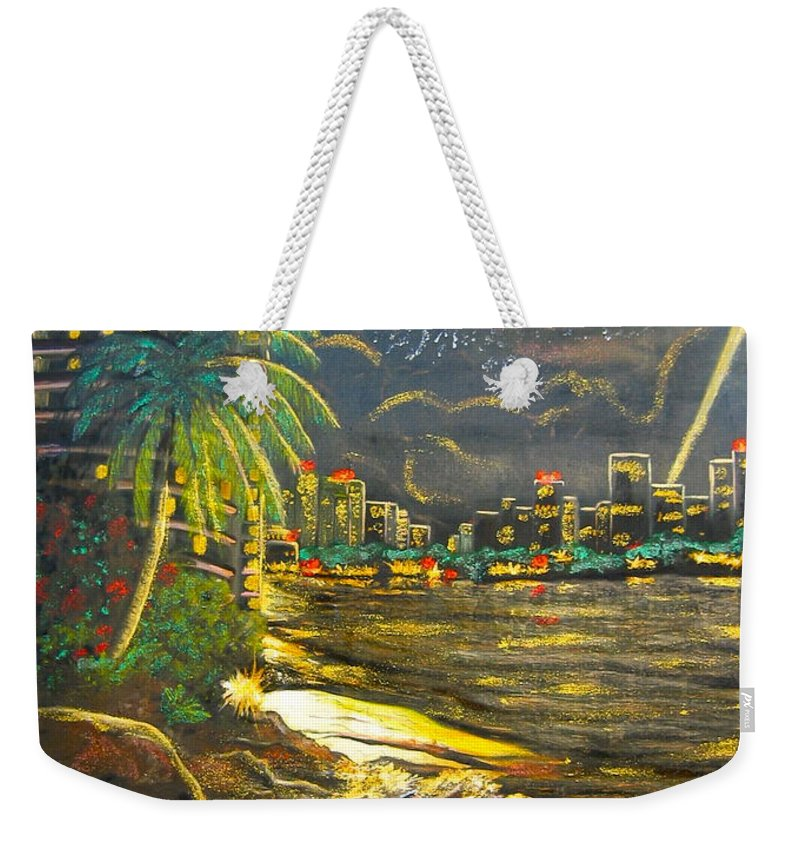 City Lights Weekender Tote Bag featuring the painting Midnight Sun by V Boge