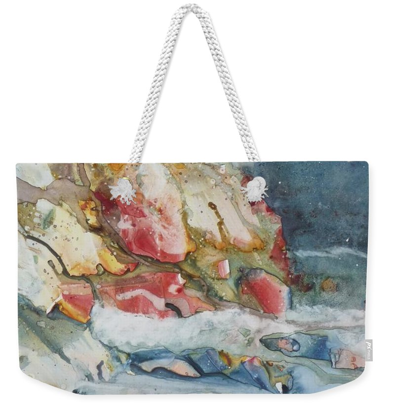 Abstract Weekender Tote Bag featuring the painting Midnight Surf by Ruth Kamenev