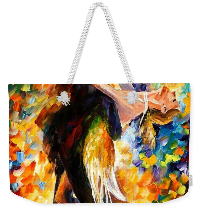 Afremov Weekender Tote Bag featuring the painting Midnight Tango by Leonid Afremov