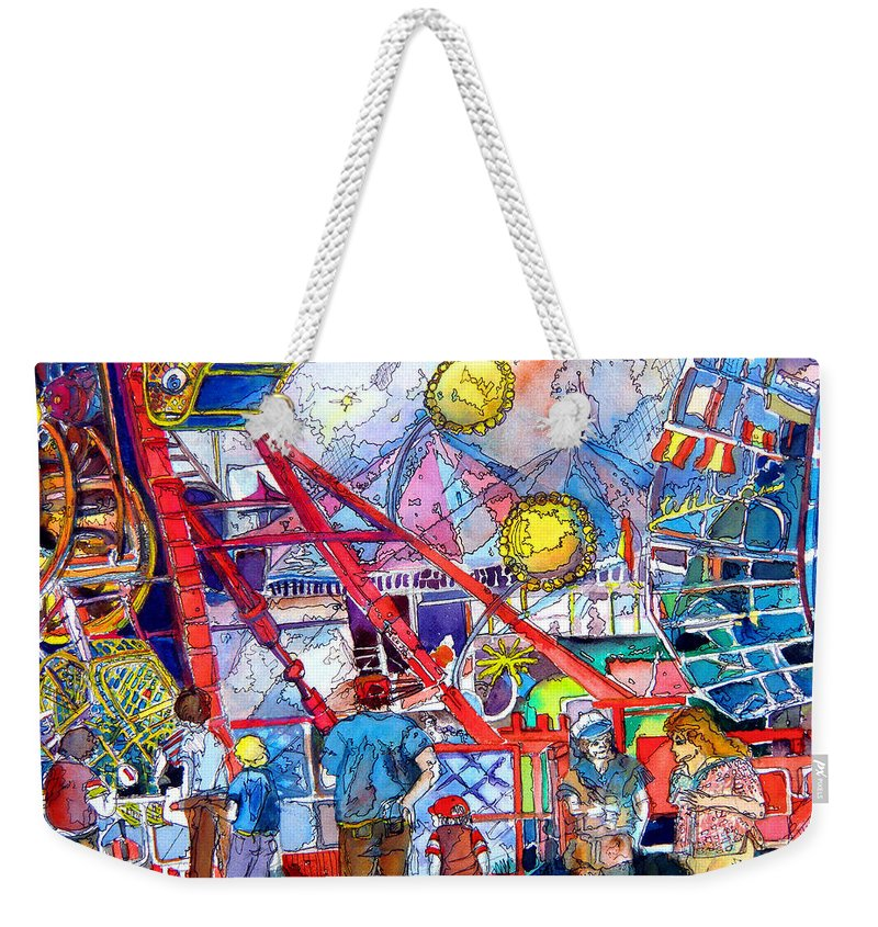 Midway Weekender Tote Bag featuring the painting Midway Amusement Rides by Mindy Newman