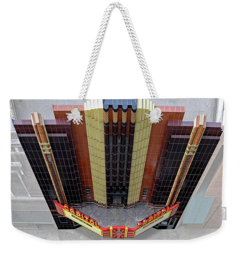 Art Deco Weekender Tote Bag featuring the photograph Art Deco Theater by Matt Oaks