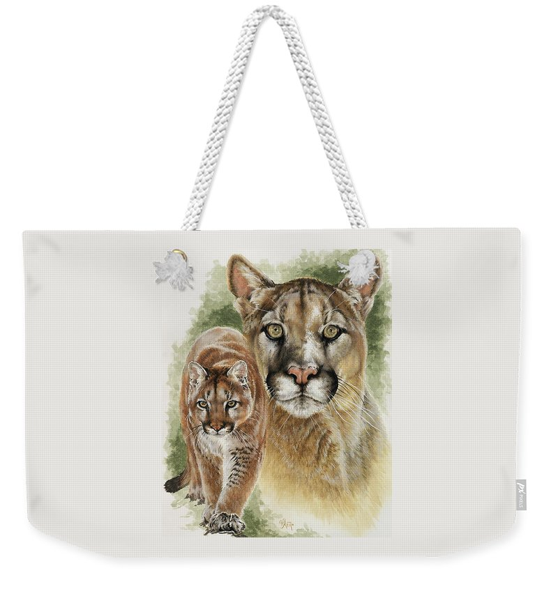 Cougar Weekender Tote Bag featuring the mixed media Mighty by Barbara Keith