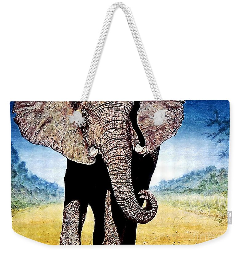 Elephant Weekender Tote Bag featuring the painting Mighty Elephant by Hartmut Jager