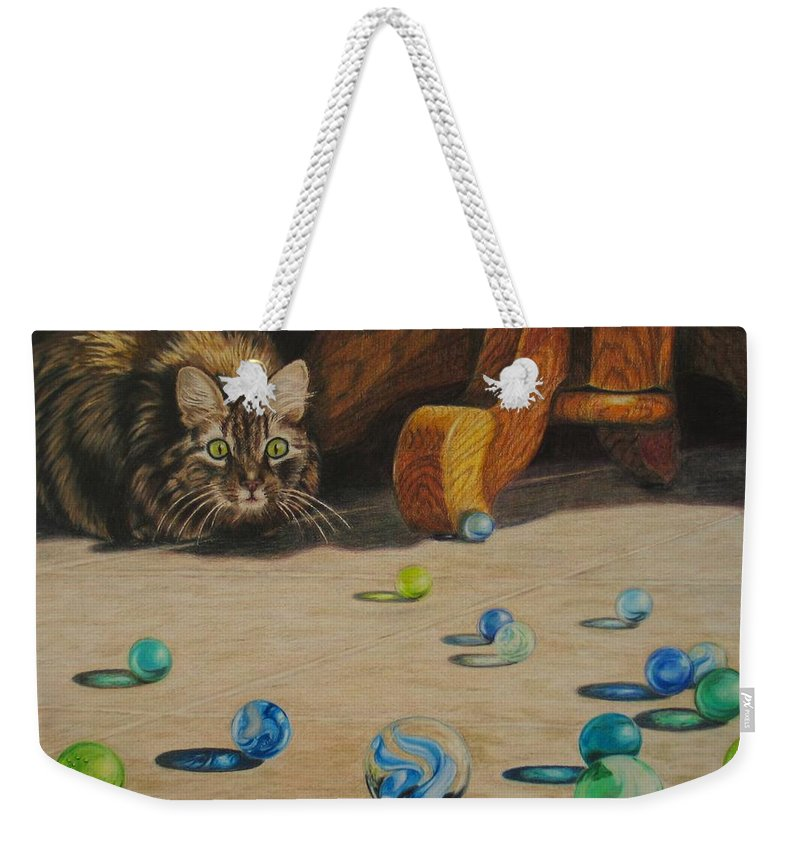 Cats Weekender Tote Bag featuring the drawing Mighty Hunter by Karen Ilari