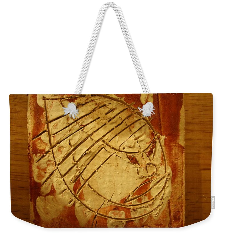 Jesus Weekender Tote Bag featuring the ceramic art Mighty Masaai - Tile by Gloria Ssali