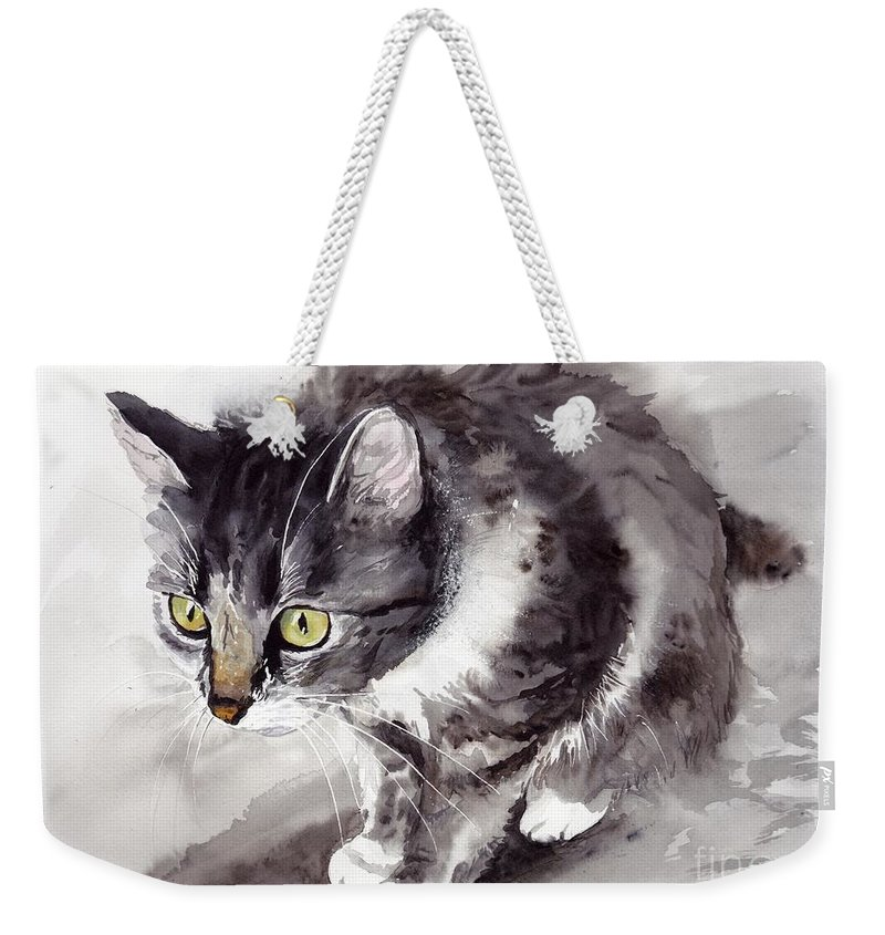 Little Weekender Tote Bag featuring the painting Mike Mice Catcher by Suzann Sines