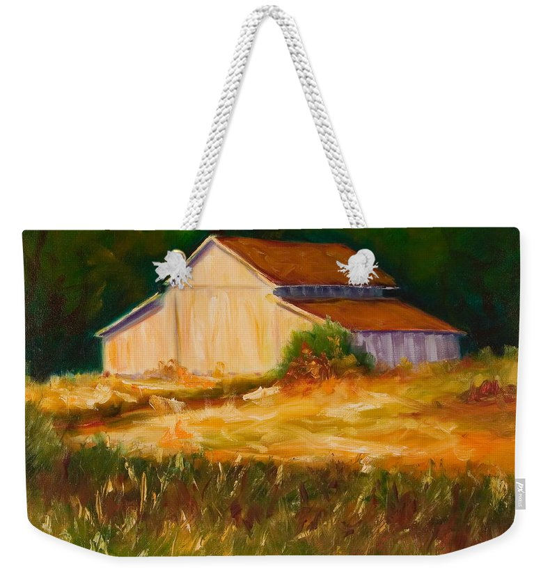 Barn Weekender Tote Bag featuring the painting Mike's Barn by Shannon Grissom