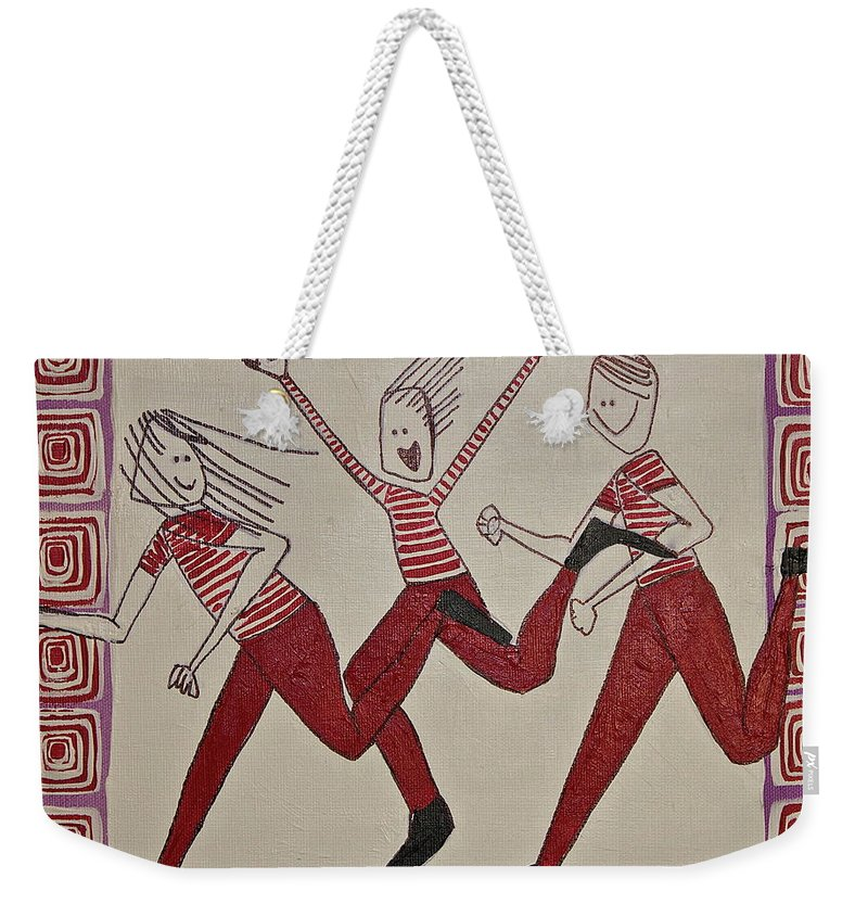 Whimsical Weekender Tote Bag featuring the painting Mikey Just Likes To Participate by Donna Howard