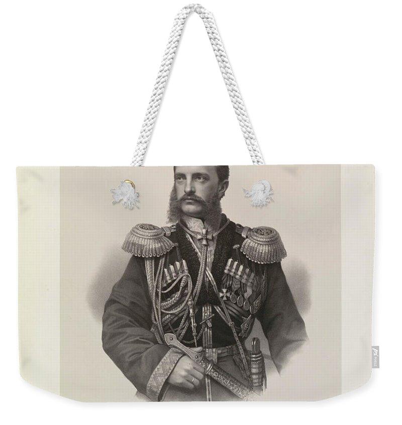 Johann Velten  Carlsruhe Mikhail Nikolaiavitch (grand Duke Of Russia) Weekender Tote Bag featuring the painting Mikhail Nikolaiavitch by Johann Velten