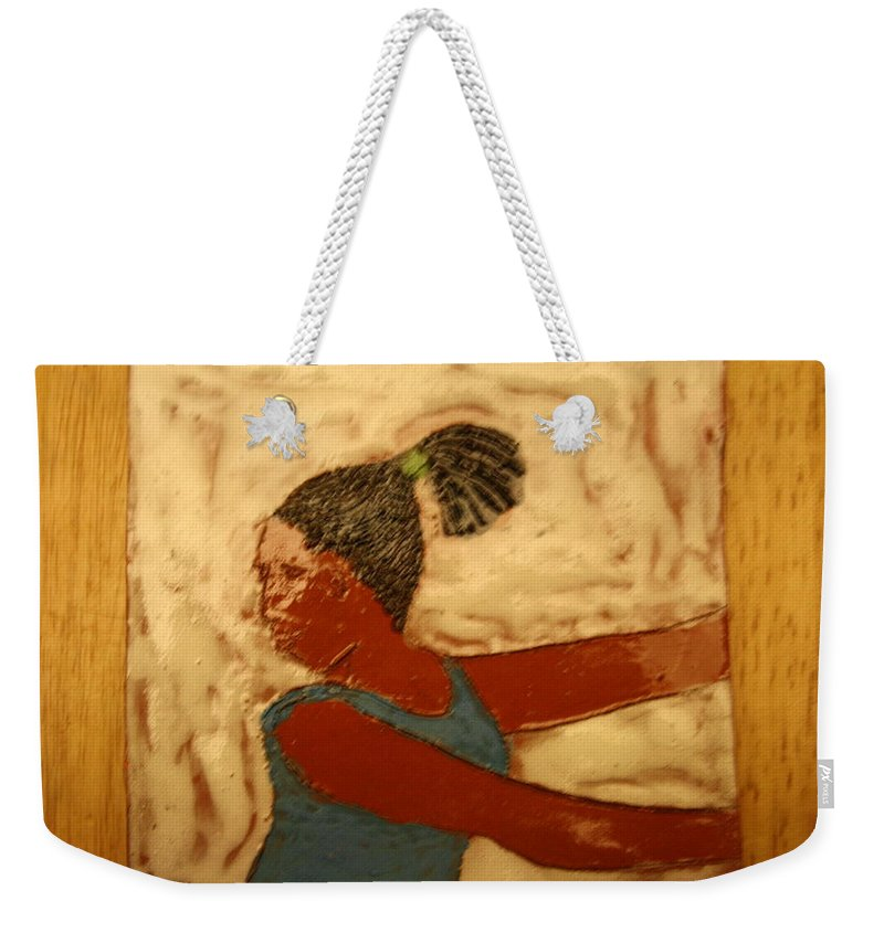 Jesus Weekender Tote Bag featuring the ceramic art Mildred - Tile by Gloria Ssali