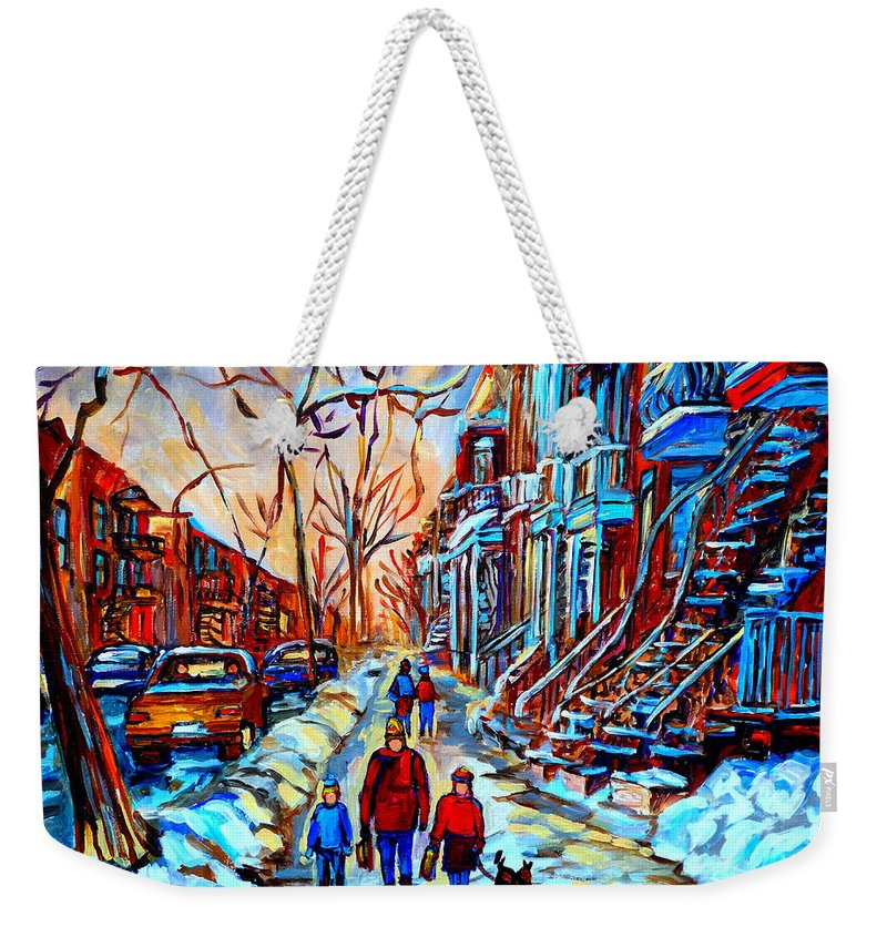 Montreal Weekender Tote Bag featuring the painting Mile End Montreal Neighborhoods by Carole Spandau