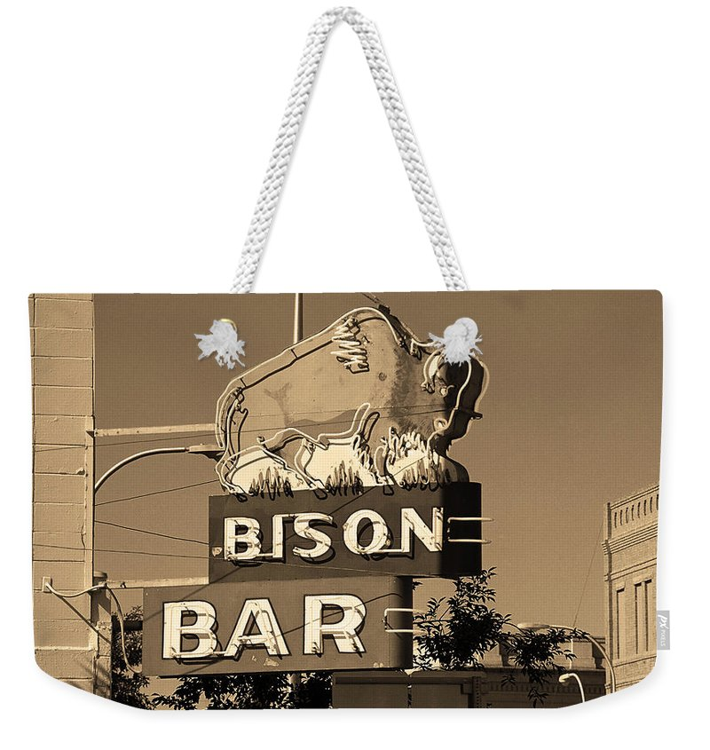 America Weekender Tote Bag featuring the photograph Miles City, Montana - Bison Bar Sepia by Frank Romeo