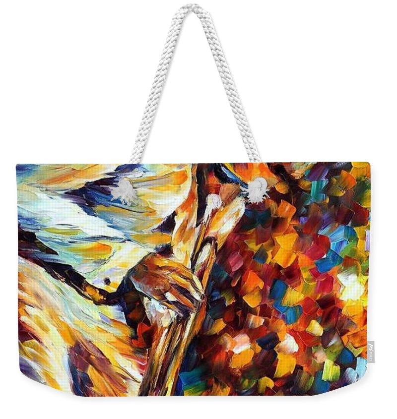 Afremov Weekender Tote Bag featuring the painting Miles Davis - Gold Trumpet by Leonid Afremov