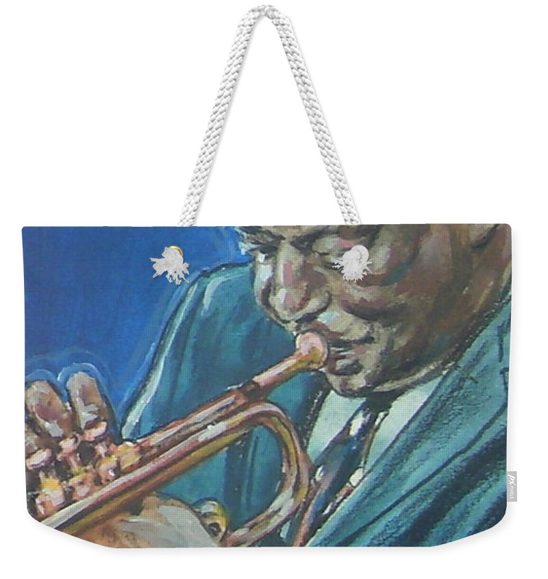 Miles Davis Weekender Tote Bag featuring the painting Miles Davis by Bryan Bustard