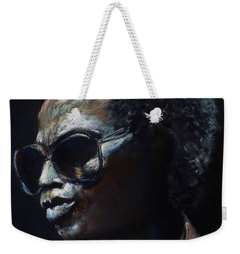 Miles Davis Weekender Tote Bag featuring the painting Miles Davis by Frances Marino