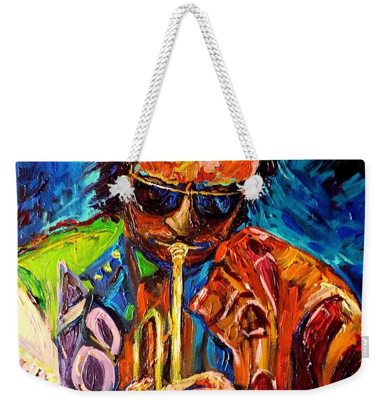 Miles Davis Hot Jazz Weekender Tote Bag featuring the painting Miles Davis Hot Jazz Portraits By Carole Spandau by Carole Spandau