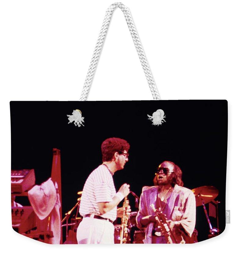 Miles Davis Weekender Tote Bag featuring the photograph Miles Davis Image 9 With Bob Berg by Derek Moore