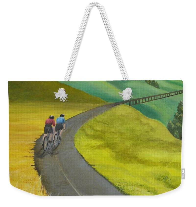 Bicycles Weekender Tote Bag featuring the painting Miles To Go by Kris Crollard