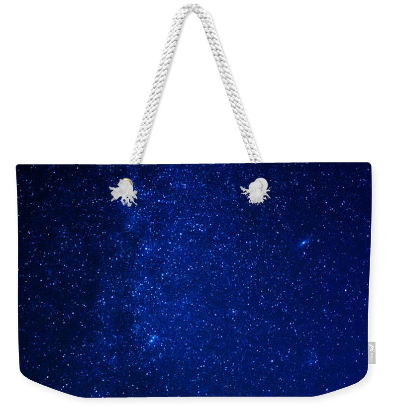 Tree Trees Milky Way Space Outer-space Night Star Stars Weekender Tote Bag featuring the photograph Milky Way And Trees by Pelo Blanco Photo