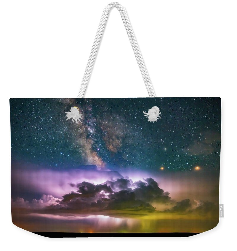 Milky Way Weekender Tote Bag featuring the photograph Milky Way Monsoon by Darren White