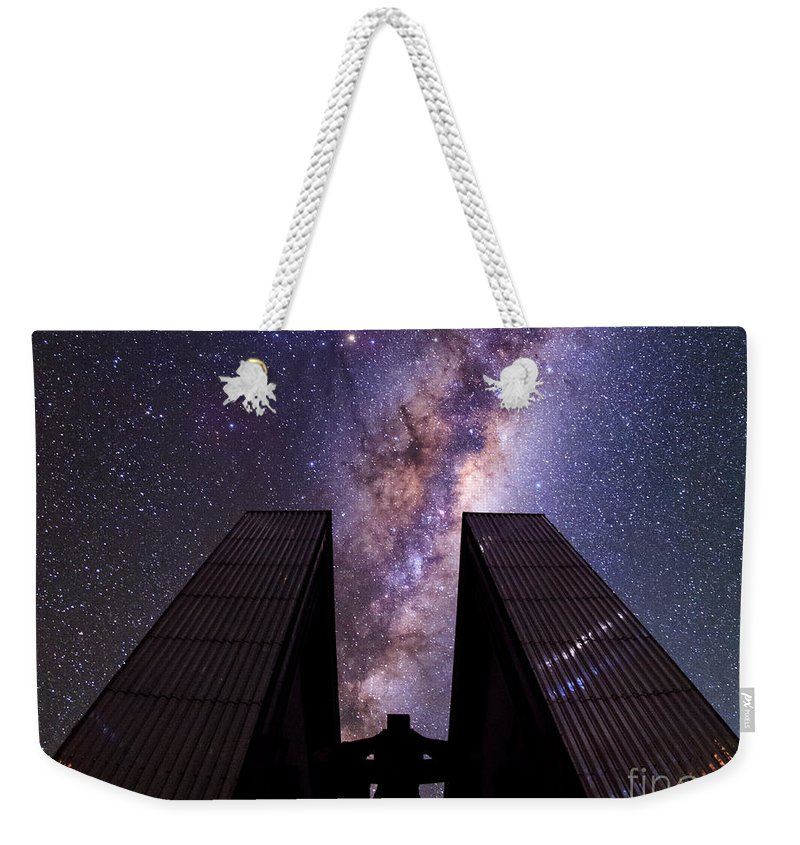 New Technology Telescope Weekender Tote Bag featuring the photograph Milky Way Over New Technology Telescope by Babak Tafreshi